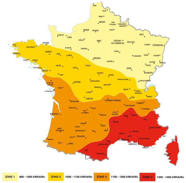 carte france solaire - production moyenne d'électricité photovoltaïque