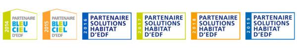 Logos Partenaire Solutions Habitat d'EDF 2014, 2015, 2016, 2017, 2018 et 2019