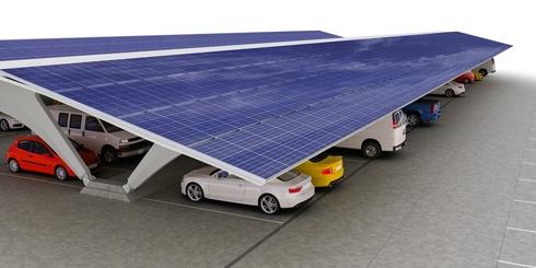 voitures protégées panneaux solaires