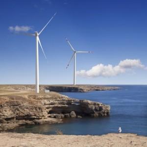 paysage mer éoliennes