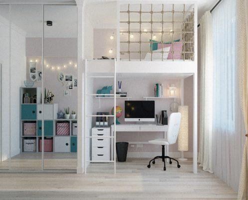 Chambre d'adolescent avec solutions de rangement pour optimiser l'espace.