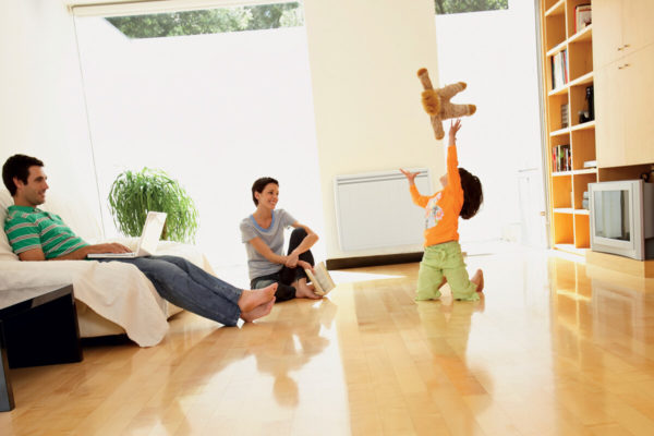 radiateur a inertie dans un salon avec une famille